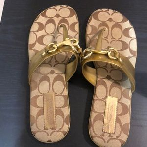 Coach Sandals; Gold and Tan